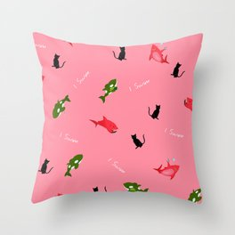 Red Shark and Green Orca Throw Pillow