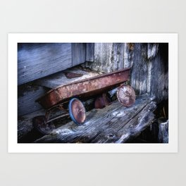 Left and Forgotten a little red wagon Art Print