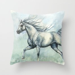 Running arabian horse Throw Pillow