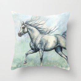 Running arabian horse Throw Pillow