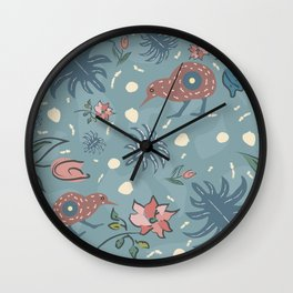 Seamless Floral Pattern with exotic kiwi bird Wall Clock