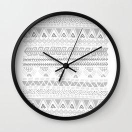 Grey aztec pattern Wall Clock