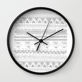 Grey aztec pattern Wall Clock