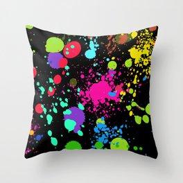 Paint Splatters on Black Throw Pillow