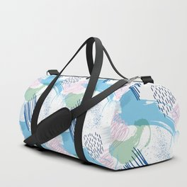 Mid Century Modern Abstract Blue and Blush Pattern V Duffle Bag