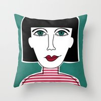french Throw Pillows featuring French by Julieta Gutnisky