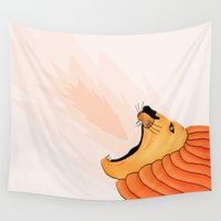 lion king Wall Tapestries featuring Lion by Nir P