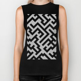 Black and Gray Diagonal Labyrinth Biker Tank