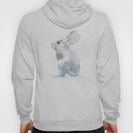 Gray Bunny Rabbit Watercolor Painting Hoody