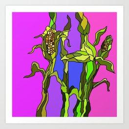 Cornstalks Art Print