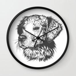Puppy Pencil Drawing Wall Clock