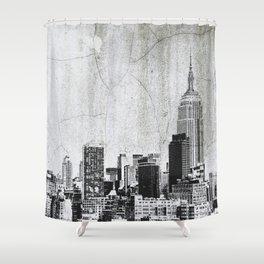 New York City Skyline Gray Texture Shower Curtain