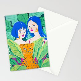 Girls and Panther in Tropical Jungle Stationery Cards