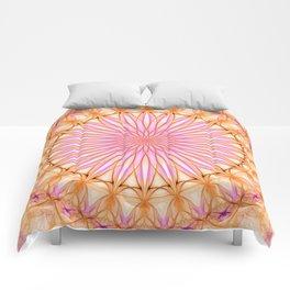 Mandala in pink, yellow and orange tones Comforters