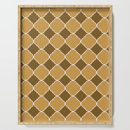Brown and Beige Ornamental Pattern with White Border Digital Artwork Serving Tray