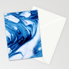 Blue Cream Marble Waves Stationery Cards