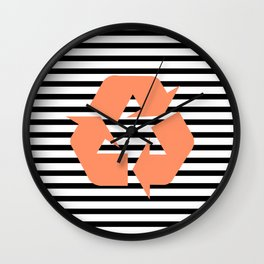 Pink Recycle Logo - Symbol on a black lines pattern Wall Clock