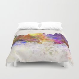 Reno skyline in watercolor background Duvet Cover