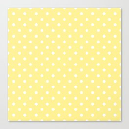 Buttermilk Yellow with White Polka Dots Canvas Print