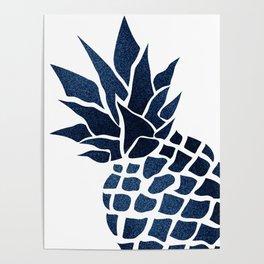 Pineapple, Big Blue, Denim Navy Poster