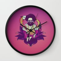 afro Wall Clocks featuring Afro buddha by Zenandiko