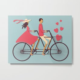 Love Couple riding on the bike Metal Print