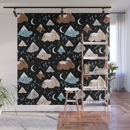 Rock Climbing under the new moon stars and mountains pattern Wall Mural