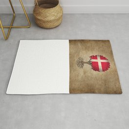 Vintage Tree of Life with Flag of Denmark Rug