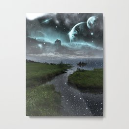 Chillin' on the Space Lake Metal Print