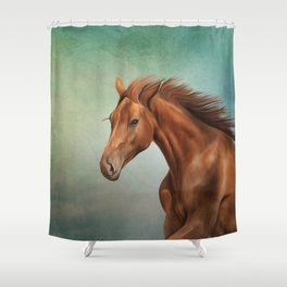 Drawing portrait  horse Shower Curtain