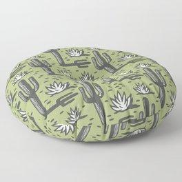 Desert Cactus Pattern 323 Olive Green Floor Pillow