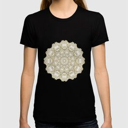 Golden Mandala in Cream Colored Background T-shirt