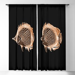Fish nautical coastal in black background Blackout Curtain