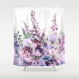 Purple flowers. Roses, peonies, gerberas, gladioli. Watercolor. Shower Curtain