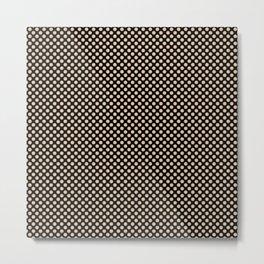 Black and Apricot Illusion Polka Dots Metal Print