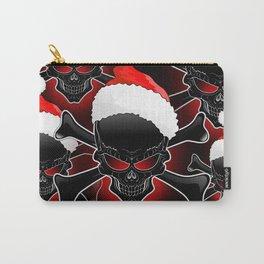 Christmas Santa Black Skull Carry-All Pouch