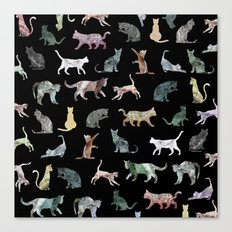 Cats shaped Marble - Black Canvas Print