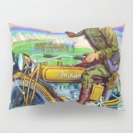 1918 WWI Vintage Motorcycle Dealer's Sign - Advertising Poster Pillow Sham