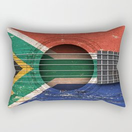 Old Vintage Acoustic Guitar with South African Flag Rectangular Pillow