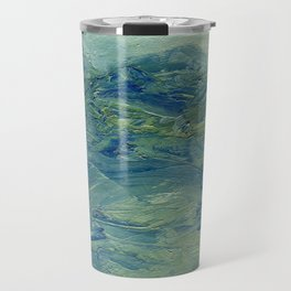 Abstract Blue Green Waves of Aqua Ocean Blue Mountains Travel Mug