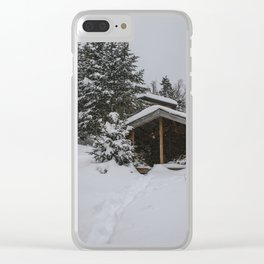 Winter at Lonesome Lake Hut Clear iPhone Case