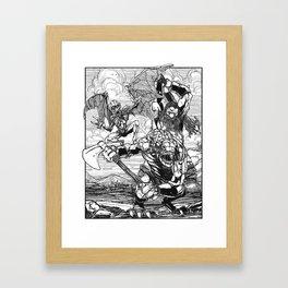 Lone Wolf Battle Framed Art Print
