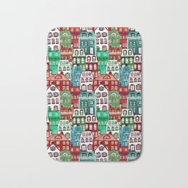 Christmas Village in Watercolor Red + Green Bath Mat