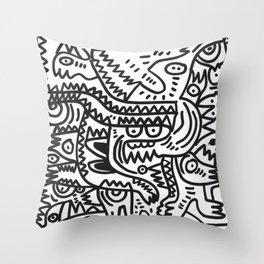 Black and White Graffiti Art of the morning by Emmanuel Signorino  Throw Pillow