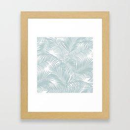 Pastel green modern tropical floral palm tree pattern Framed Art Print