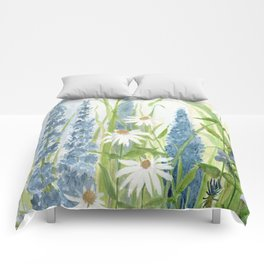 Watercolor Botanical Garden Flower Wildflower Blue Flower Garden Comforters