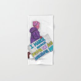 Women's March Pussyhat Girl Protester Hand & Bath Towel