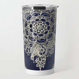 Cream Floral Moroccan Pattern on Deep Indigo Ink Travel Mug