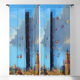 'The Door to Dreams,' magical realism landscape painting by Anastasiya Markovich Blackout Curtain