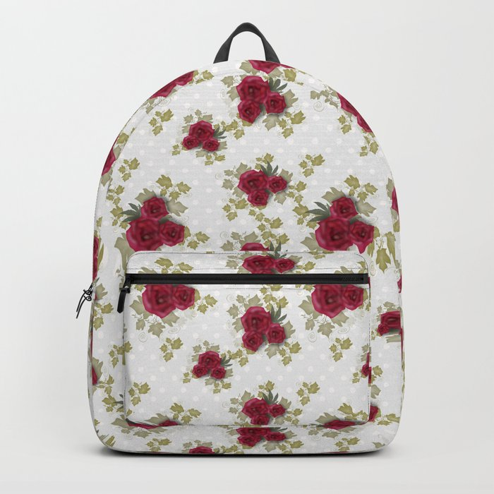 Red retro roses print Backpack